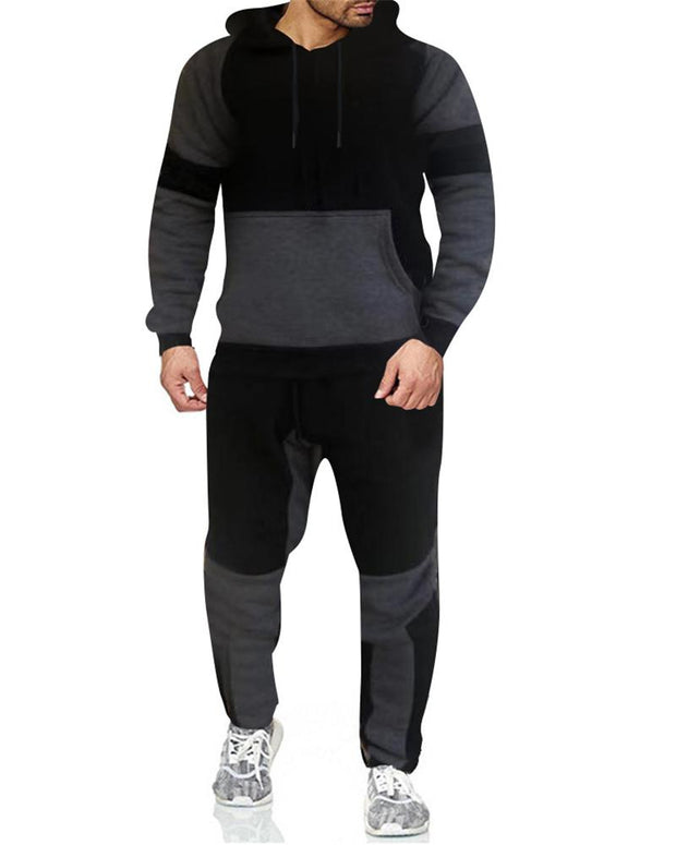 Colorblock Long Sleeve Hoodies Sweatshirts Suit Sets