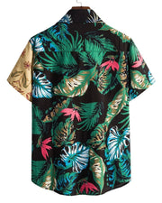 Hawaii Style Color Block All Over Print Short Sleeve T-shirt