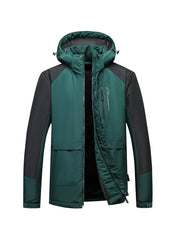 Colorblock Windbreaker Hoodies Long Sleeve Cotton Quilted Coats