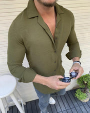 Solid Long Sleeve Skinny Shirts