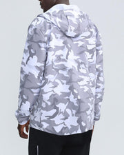 Camouflage Long Sleeve Hooded Loose Sports Coat
