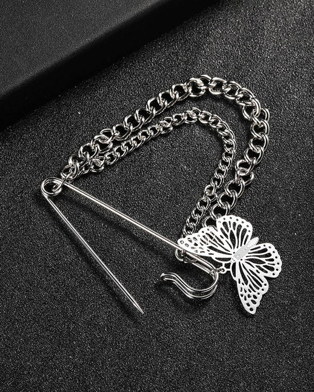 Butterfly Light Luxury Splicing Chain Titanium Steel Brooch