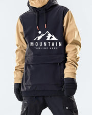 Colorblock Moutain Printing Long Sleeve Loose Hoodies Sweatshirt