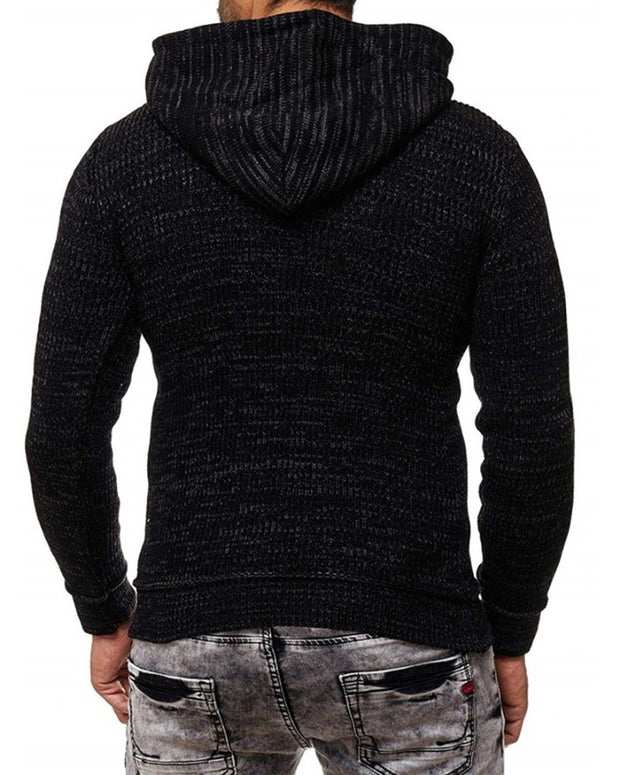 Solid Color Ribbed Long Sleeve Hooded Knitted Cardigan