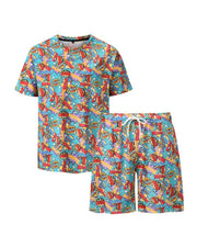 Letter Print Short Sleeve Loose T-shirt With Shorts Suit Sets