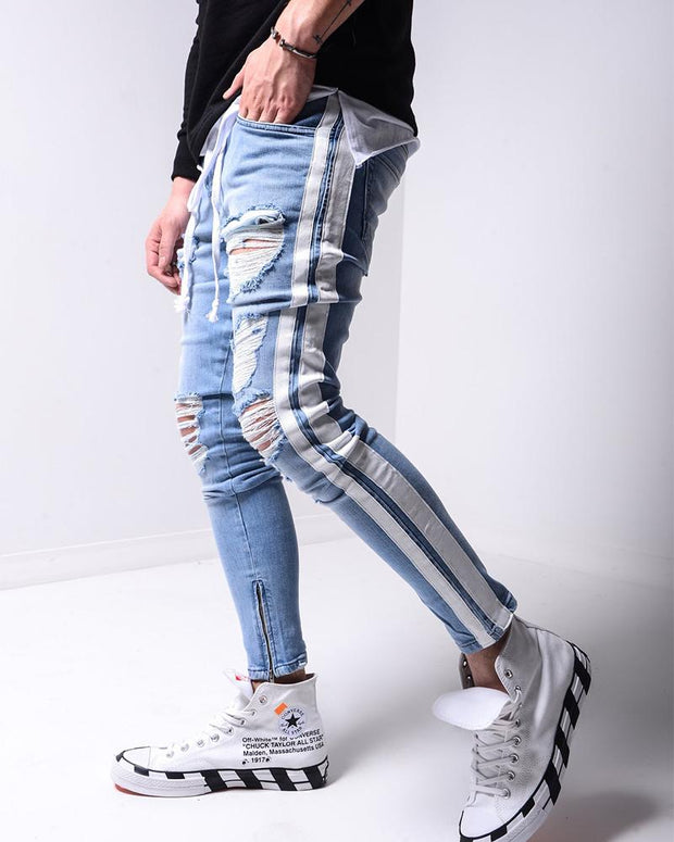 Ripped Drawstring Slim Fit Jeans
