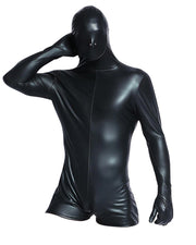 Cosplay Solid Color Leather Long Sleeve Masked Jumpsuit