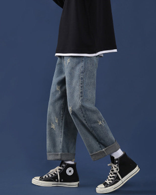 INS Style Washing Long Straight Jean Pants