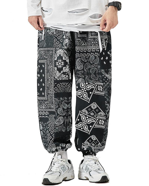 Tide Ethnic Print Drawstring Ankle-tied Pants
