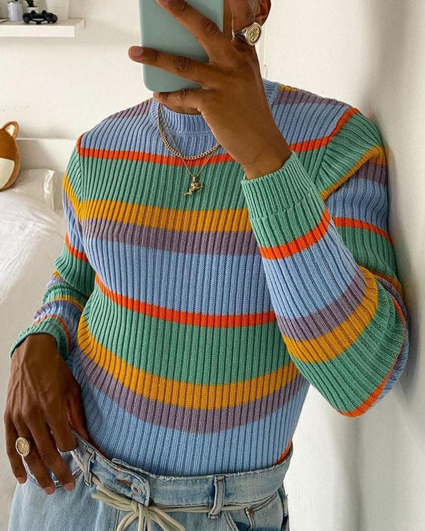Colorblock Striped Fit Knit Sweater