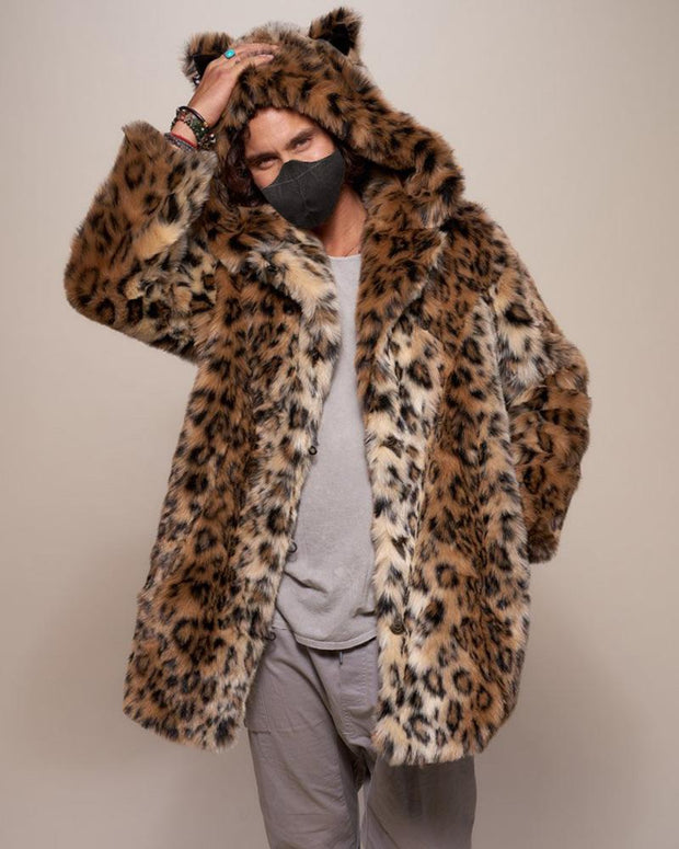 Leopard Long Sleeve Loose With Leopard Ear Hoodies Coats