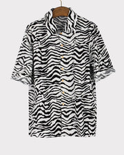 Zebra Print Short Sleeves Shirt