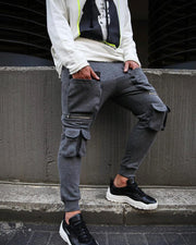 Solid Drawstring Cargo Feet-pants With Pockets