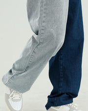 Color Block Loose Straight Jean Pants