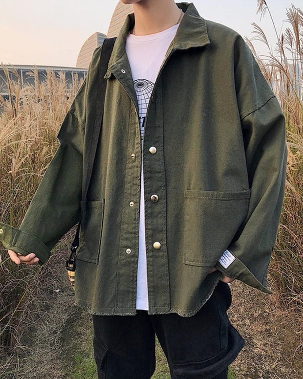 Solid Color Single-breasted Long Sleeve Jacket