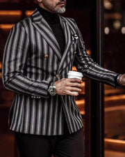 Striped Long Sleeve Double-breasted Blazer