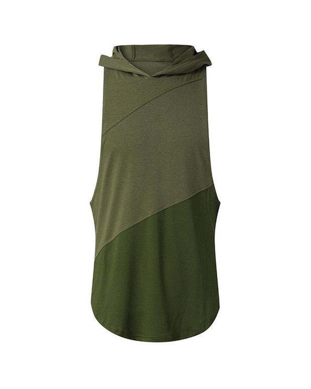 Three Stage Hooded  Sleeveless T-shirt