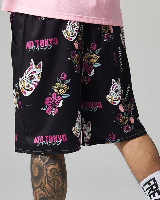 Random Print Loose Long Shorts