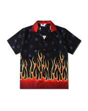 Flame Print Short Sleeve Loose Shirts