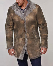 Cow Boy Style Fur Splicing Long Sleeve Coats