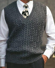 Solid Knitted Fitting Sleeveless Sweater Vest