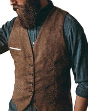 Solid Sleeveless Fitting Button-down Coats Vest