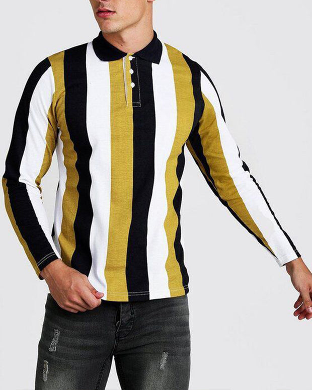 Color Block Striped Long Sleeve Polo Shirt T-shirt