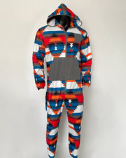 Multicolor Printing Long Sleeve Hooded Jumpsuit