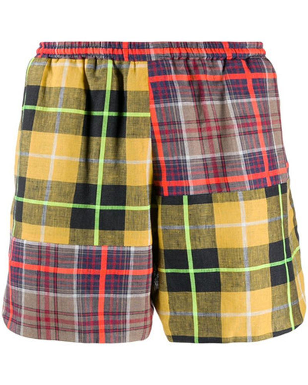 Color Block Plaid Loose Straight Short Pants