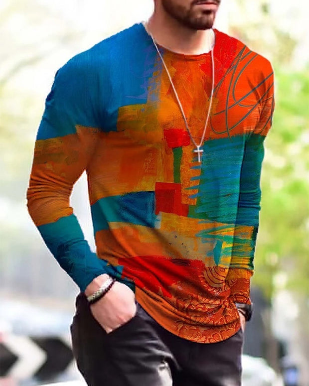 Colorblock Painting Long Sleeve T-shirts