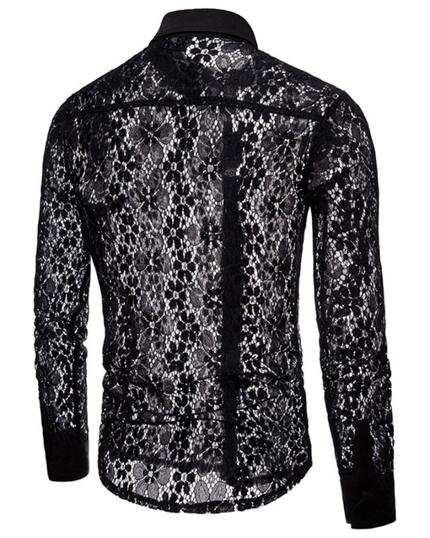 Solid Color Floral Lace Long Sleeve Shirt T-shirt