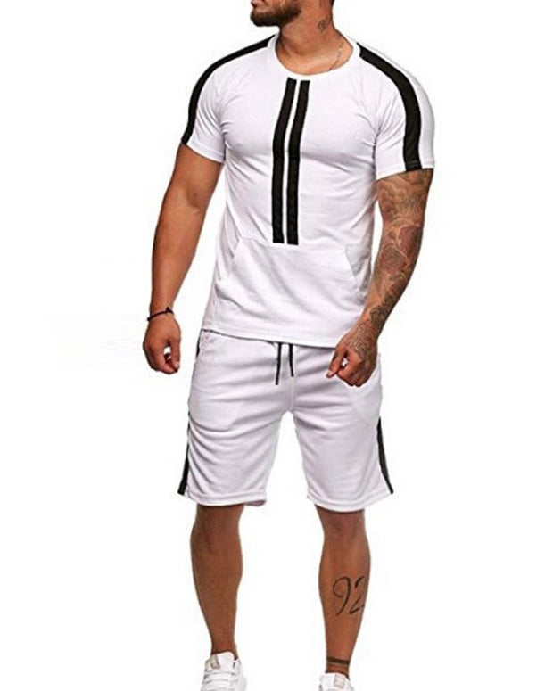 Stripe Short Sleeve T-shirt & Pants Set
