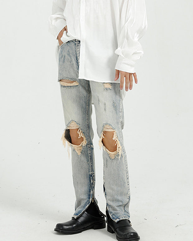 Solid Color Zipper Side Slim Ripped Jean Pants