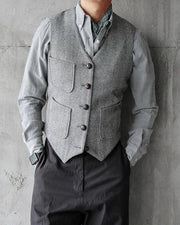Solid Sleeveless Button-down Coats Vest