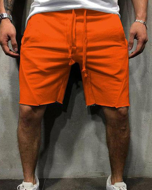 Solid Pocket Detail Jogger Shorts