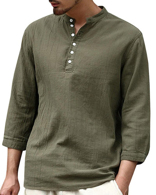 Half Sleeve Button Solid Shirts