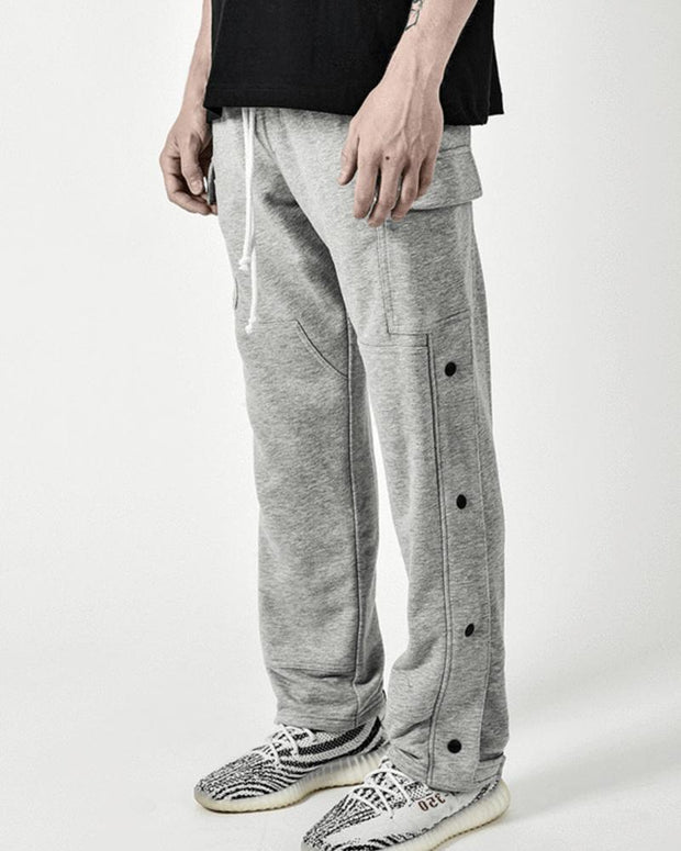 Solid Button-side Straight Leg Pants