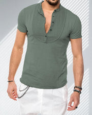 Linen Half Button T-Shirt