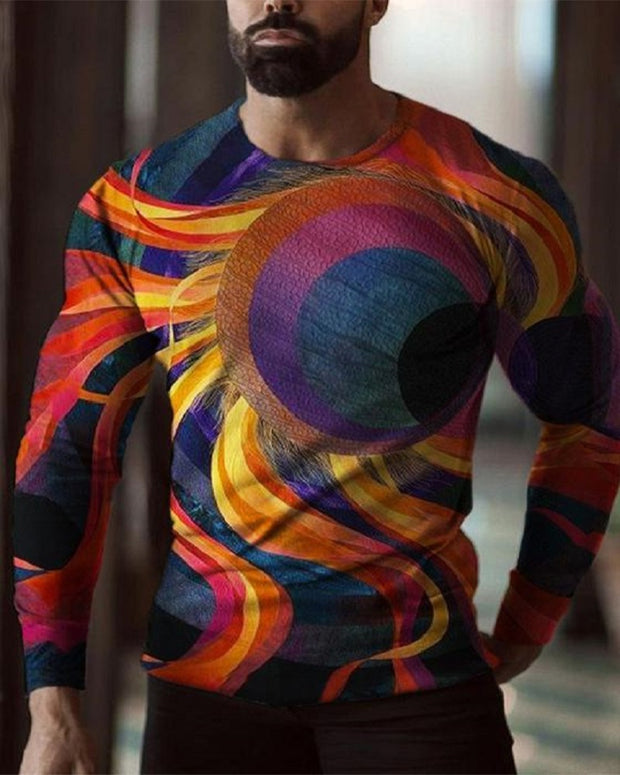 Multicolor Ptterns Print Long Sleeve Skinny T-shirts