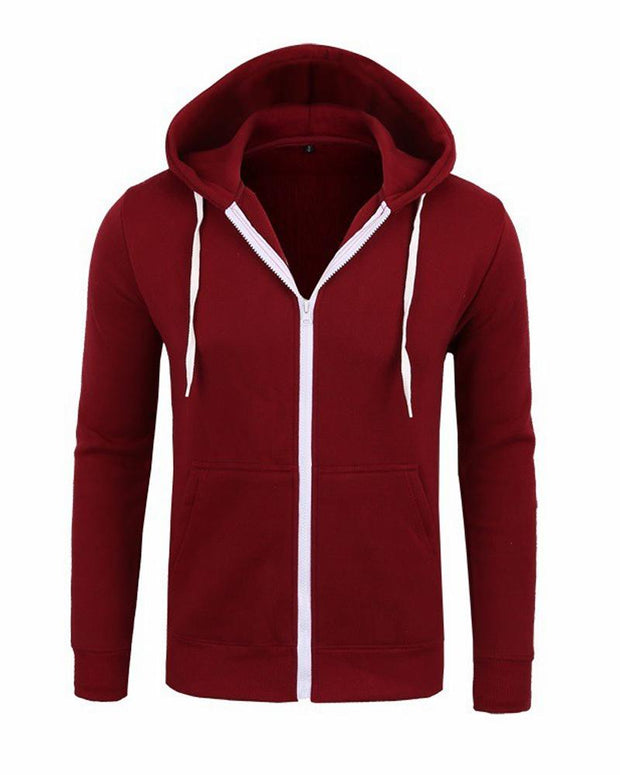Solid Color Full Zip Hoodie
