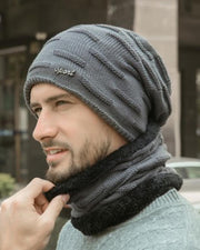 Solid Knitted Fleece Patchwork Hats