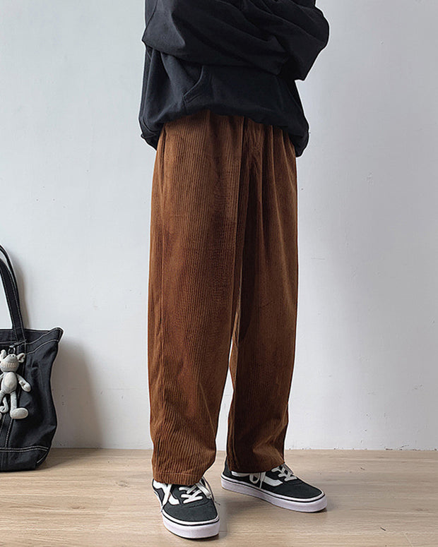 Solid Color Corduroy Baggy Straight Pants