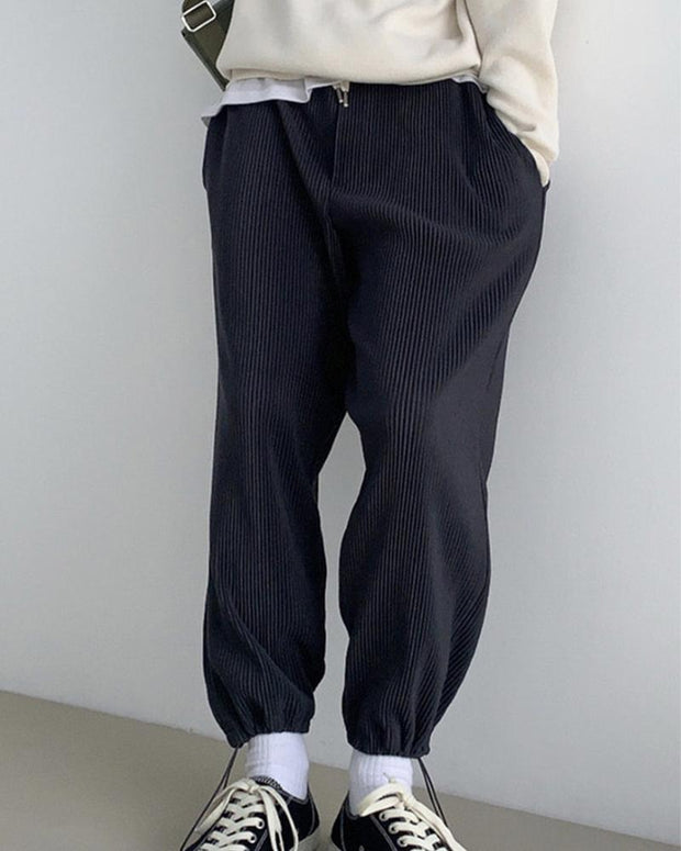 Brief Casual Ribbed Loose Pants