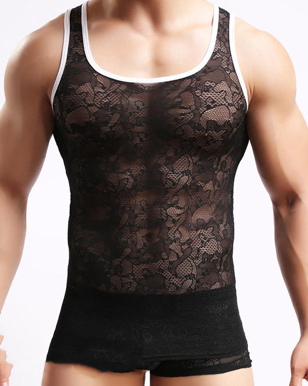 See-through Splicing Lace Sleeveless Tanks