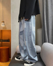 Color Block Long Straight Jean Pants