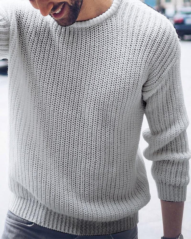 Brief Solid Weave Knit Sweater
