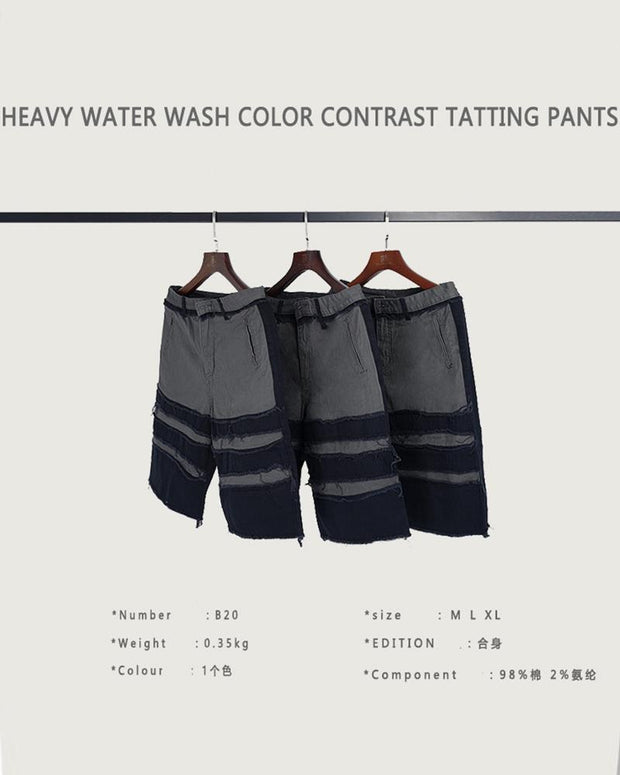 Washed Colorblock Woven Shorts