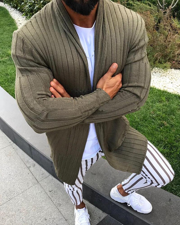 Solid Long Sleeve Loose Cardigans
