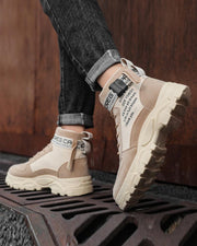 Letter Printing Round-toe Lace-up Boots