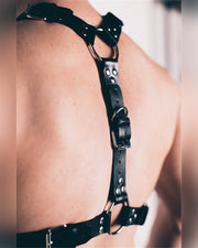 Studded O-ring Leather Harness